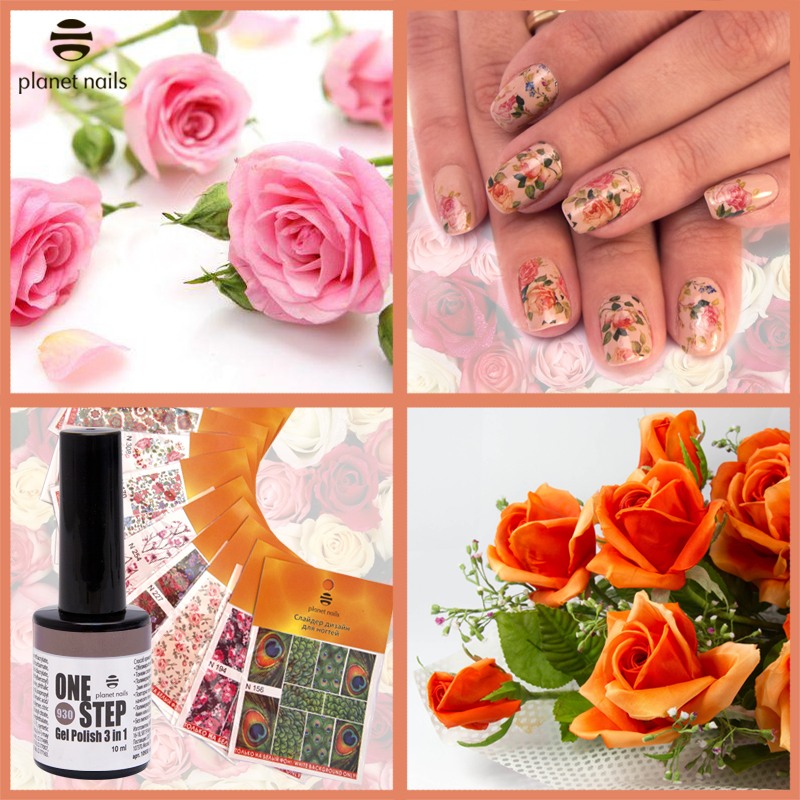 Гель-лак Planet Nails «ONE STEP» №930 Слайдер дизайн для ногтей.