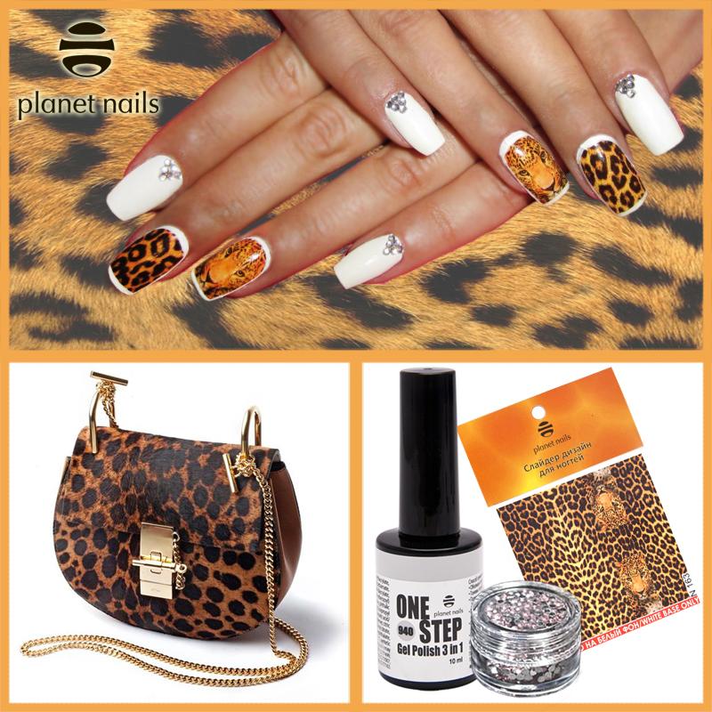 Гель-лак Planet Nails «ONE STEP» №940. Слайдер дизайн для ногтей. Стразы для ногтей.
