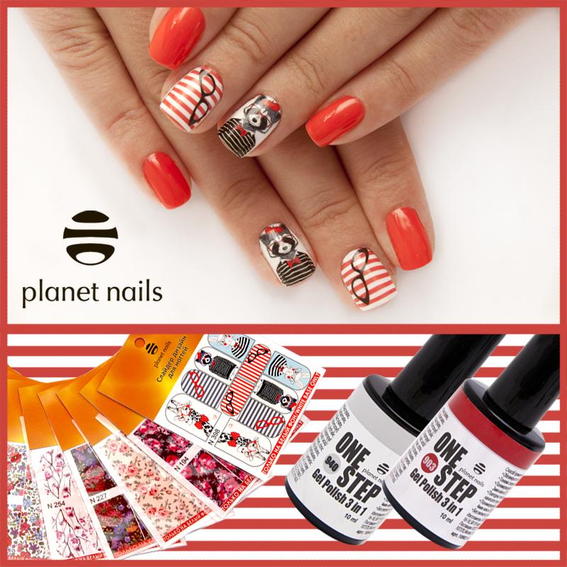Гель-лак Planet Nails «ONE STEP» №903, 940. Слайдер дизайн для ногтей.