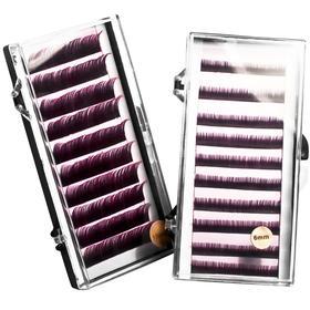 Ресницы на полосках фиолетовые,соболь 8мм, 10 полосок